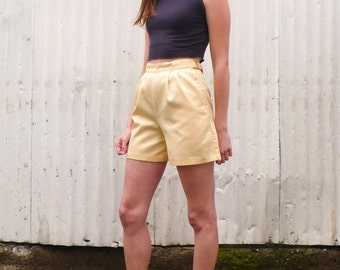 SALE / Vintage Tennis 1980's Buttercup Yellow Cotton High Waisted Sporty Shorts XS 24