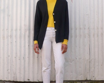 Vintage Knit 1990's Minimalist Rayon Pocket Cardigan Sweater S/M