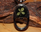 Real Four Leaf Clover Bottle Opener Key Chain for St. Patrick's Day, Christmas, Wedding Gift, or any day for Good Luck