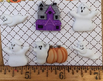 """Halloween Buttons, Ghosts and Haunted House,""""Boo Buddies"""" by Buttons Galore, Halloween Collection, Carded Buttons, Set of 6 Buttons"""