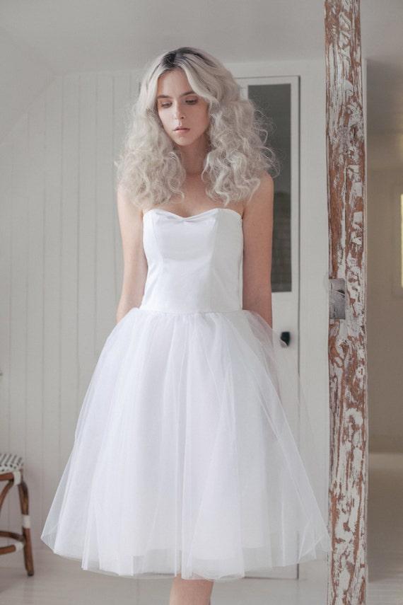Bridal tutu white midi skirt tea length tulle skirt for Tea length wedding dress tulle skirt