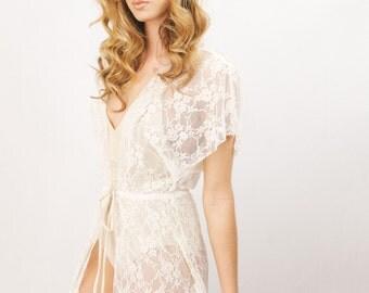 Wedding Lingerie- Vintage Inspired Flutter sleeves Robe- Floor Length