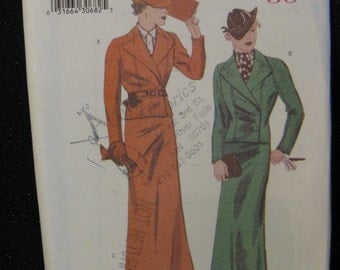 Retro Butterick '36 Pattern 6330, Double Breasted Suit with A-line Skirt, Sizes 6 8 and 10,  UC FF