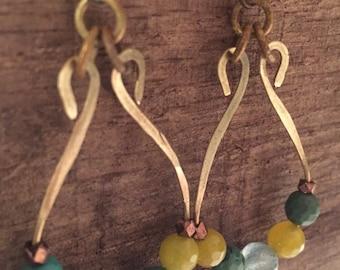 Beaded Hammered Hoop Earrings