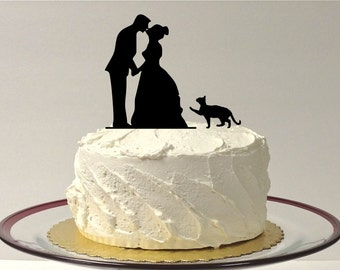 MADE In USA, Cat + Bride & Groom Wedding Cake Topper Silhouette With Pet Cat Family of 3 Cake Topper Bride and Groom Cake Topper
