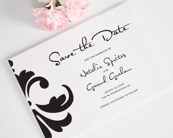 Modern Damask Wedding Save the Date Card in Black and White, Unique Stylish Design and Funky Script Font - Damask Accent Deposit