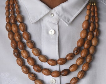 Ethnic Olive Wood Bead and African Trade Bead Necklace & Earrings