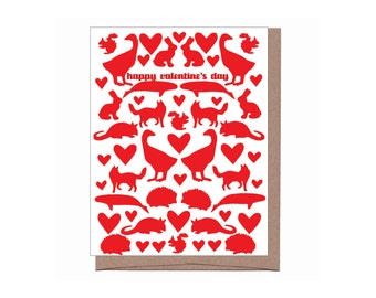 Valentine Menagerie Card