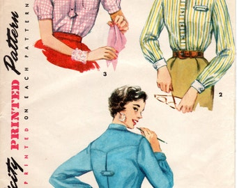 1950s Womens Blouse Pattern - Vintage Simplicity 4813 - Bust 32
