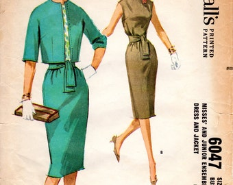 1960s Womens Dress & Matching Jacket - Vintage McCall's 6047 - B34