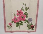 Vintage Floral Linen Kitchen Towel Pansies Petunias