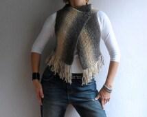 Knit Vest, Fringe Vest, Womens Knit Sweater, Boho Vest in Blended Brown Beige, Sleeevless Vest, Christmas Gift, Winter Accessories