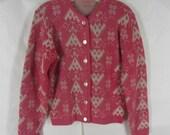 Vintage 60s Cardigan Sweater Pink White Geometric Pattern