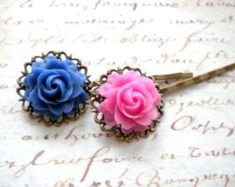 Bobby Pin Flower Fuschia Hair Accessories Floral Hair Pin Fuschia Bobby Pin Vintage Style Hair Accessories For Girls Blue Bobby Pin
