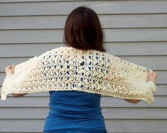 Off White Crochet Prayer Shawl Handmade Wrap Comforting Shawl