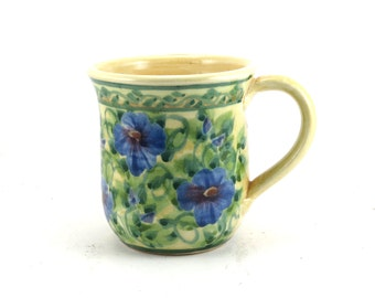 Yellow Porcelain Coffee Mug - Ceramic Floral Tea Cup - Soft Backround with Blue Flowers-  Hand-Thrown Bisque Fired and Glazed