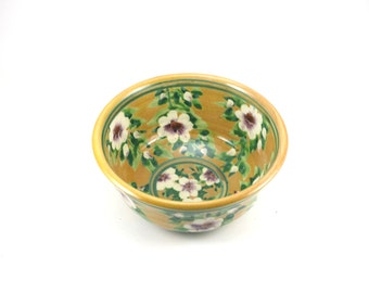 Cereal Bowl - Floral Ceramic Pottery Bowl with Yellow Background and White Flowers and Trim - OOAK