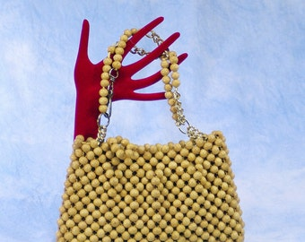 Vintage 70s Designer Purse Jana Wood Bead Convertible Handbag to Shoulder Bag