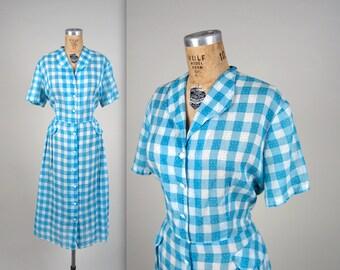1950s checkered day dress • vintage 50s dress • summer cotton dress • larger size