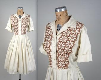 1950s floral eyelet shirt dress • vintage 50s dress • cotton day dress • larger size