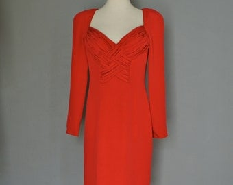Vintage DELLA ROUFOGALI 90s RED Hot Sculpted Bust Cocktail Dress (s-m)