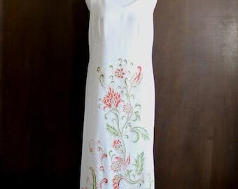 vintage beaded white goddess gown / tank sleeveless maxi dress, orange red floral detail, large