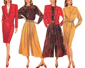 90s Womens Culottes Skirt Blouse Jacket Pattern Butterick 5065 J G Hook Vintage Sewing Pattern Size 12 14 16 18 Bust 36 38 40 inch UNCUT Ff