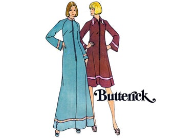 70s Robe Zip Front Dress Pattern Butterick 3991 Maxi Beach Cover Up Caftan Vintage Sewing Pattern Size 14 Bust 36 inches UNCUT Factory Folds