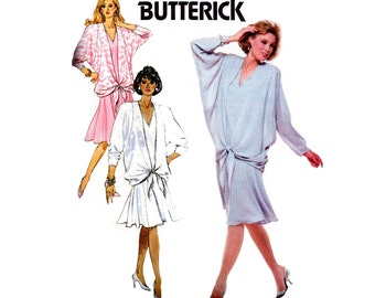 80s Drop Waist Dress pattern Butterick 6287 Batwing Sleeve V Neck Dress Vintage Sewing Pattern Size 8 10 12 or 14 16 18 UNCUT Factory Folds