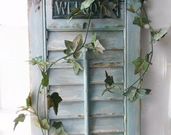 Rustic wood SHutter. Upcycled Altered  Wall Decor.  Mermaid Welcome sign. Beach Lakehouse Wall Rack