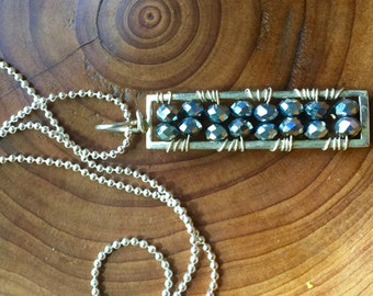 Gemstone Bar Pendant, Sterling Geometric Rectangle, Multi Gemstone and Customizable, Layering Necklace, Modern Bar Pendant, Gemstone Pendant