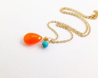 Jade Necklace, Orange, Gold, Gemstone Jewelry