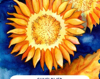 Adult Coloring Page DIY Sunflower Watercolor Beginners Painting Tutorial Flower Coloring Page Do It Yourself Coloring Sheet Instant Download