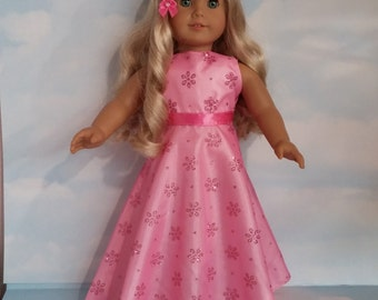 S A L E - 18 inch doll clothes - #206 Pink Daisy Glitter Gown handmade to fit the American Girl doll