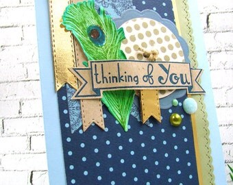 Thinking of You Peacock Feather Accent A6 Handmade Card
