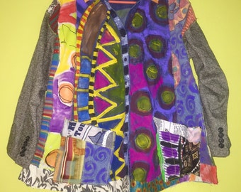 Very Artsy hand painted mixed media Jacket fits L XL
