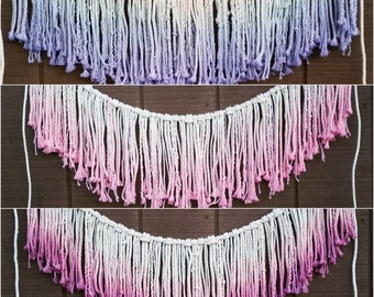 Sale /// Macrame Wall Hanging / Ombre Wall Tapestry / Dip Dye Fringe Garland