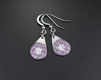 Silver and Enamel Earrings. Purple Star design. Hexagon, Triangles. Handmade. Sterling Silver Earwires
