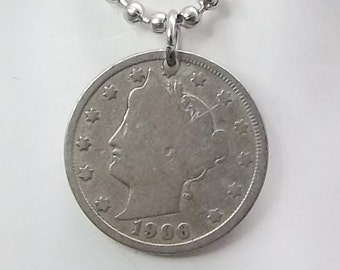 Coin Necklace, United States Liberty Nickel, Ball Chain, Men's Necklace, Women's Necklace, 1906