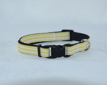 RTS - SALE - Yellow Stripes - Small Dog Adjustable Collar