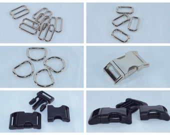 Dog Collar Hardware - Martingale Hardware - D rings - Buckles - Slides - Rectangle Rings