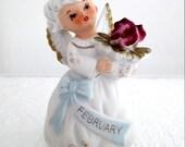 Vintage Lefton February Birthday Angel Figurine Porcelain Bisque