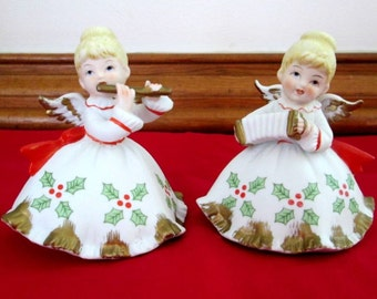Lefton Christmas Angels Vintage Bisque Figurines Playing Flute & Concertina