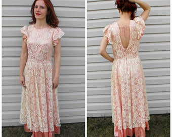 Satin Lace Formal Gown 60s Party Dress Pink Ivory 1960s Vintage Open Back S