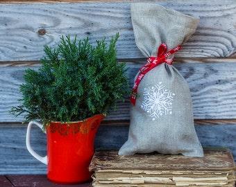 Natural Linen Favor Gift Bag, Linen Christmas Sachet, Small Gift Bag, Handmade Linen Bag, Rustic Decor