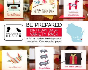 Be Prepared - Birthday Bash Fun & Modern 6 Card Variety Pack on 100% Recycled Paper