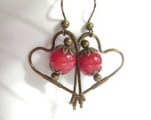 Red Quartz Earrings, Bronze Wire Wrapped, Heart Earrings, Cherry Red, Raspberry, Berry Quartz, Abstract, Minimalist, 890