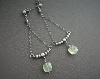 Prehnite Silver Earrings, Oxidized Silver, Absinthe, Chandelier Earrings, Gemstone, Wire Wrapped, Post Earrings, 925 Silver, 984