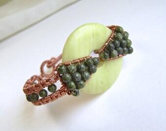 Jasper Bracelet, Peridot Green Jasper, Serpentine, Copper Wire Wrapped, Basket Weave, Handmade, Artisan Jewelry, 947