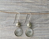 SUGAR BOWL. Pyrite and brass disc earrings.